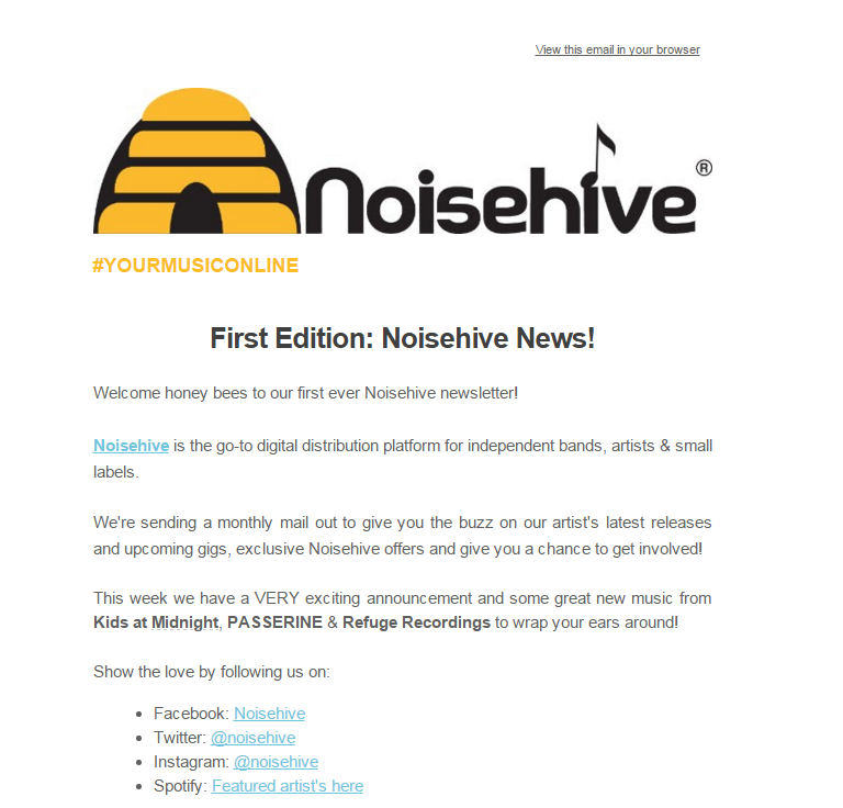 FIRST EDITION: NOISEHIVE NEWS!