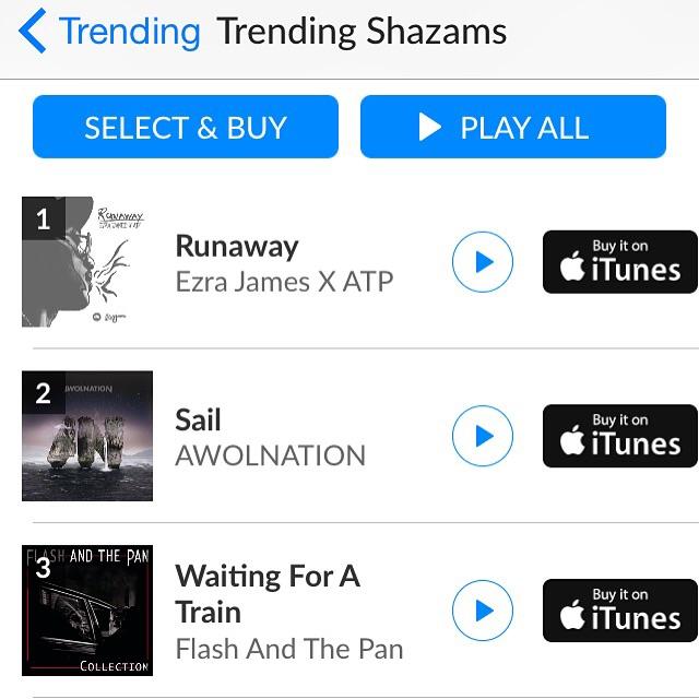 Runaway hits No.#10 on Shazam Top 20